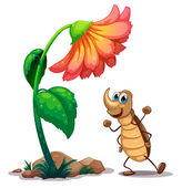 An ant dancing below the big flower — Stock Vector