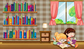 Two girls reading books beside the bookshelves — Stock Vector