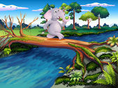 An elephant crossing a tree bridge — Wektor stockowy