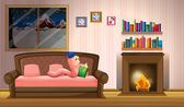A worm reading a book near the fireplace — Stock Vector