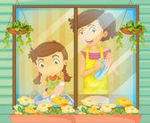 Bir çocuk annesi bulaşıkları yıkama yardımcı — Stok Vektör