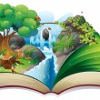 A storybook with an image of the gift of nature — 图库矢量图片