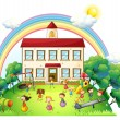 Stock Vector: Children playing in front of school