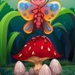 A butterfly standing above the big red mushroom — Imagens vectoriais em stock