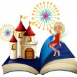 Stock Vector: Storybook with castle and fairy