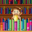 Stock Vector: A scared little girl in the library