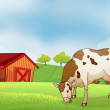 A cow in the farm — Stock Vector