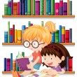 Two friends reading — Stock Vector
