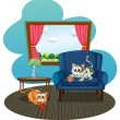 Two cats playing with the balls of yarn inside the house — Stock Vector