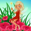 A fairy holding a wand sitting at the red flowers — Stock Vector