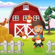A boy playing with his farm animals — Stock Vector
