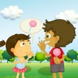 A boy talking to a young girl with a lollipop at his back — Stock Vector #27922727