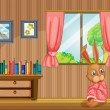 Vecteur: Bunny feeling cold inside house