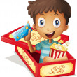 A boy inside the box holding a popcorn and a ticket  — Imagen vectorial