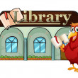 Stock Vector: A parrot holding a book outside the library
