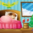 A girl sleeping in her room with a Christmas tree — ベクター素材ストック