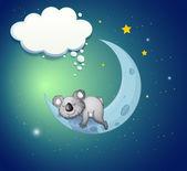 A koala bear above the moon — Stock Vector