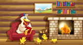 A duck and her ducklings near the fireplace — Stock Vector
