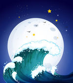 The moon and the waves — Stock Vector