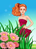 A pretty young girl in the meadow — Stock Vector