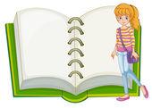 一个女孩和一个空白的笔记本 — 图库矢量图片