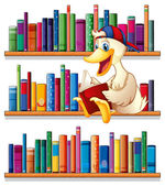 A library with a duck reading — Stock Vector
