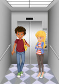 два подростка на элеваторе — Cтоковый вектор