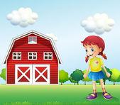 A little girl in the barn — Stock Vector