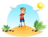 A tired soccer player — Stock Vector