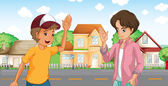 Two boys meeting across the big houses at the road — Stock Vector