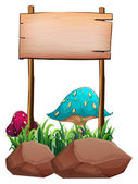 An empty wooden signboard near the big mushrooms and rocks — Stock Vector