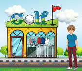 A boy at the golf store — Stock vektor