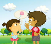 A boy talking to a young girl with a lollipop at his back — Stock Vector