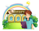 A boy holding a book standing in front of the library — Stock Vector