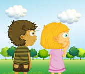 A boy and a girl in front of the trees — Stock Vector