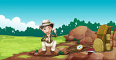 A boy wearing a hat sitting on a rock — Stock Vector