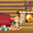 A girl fixing her books near the fireplace — Stock Vector
