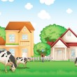 Stock Vector: Three cows eating in front of the neighborhood