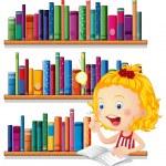 okurken düşünmek bir kız — Stok Vektör