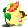 A young girl below the giant flower — Stock Vector