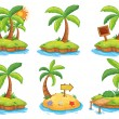 Islands with different signs — Stock Vector