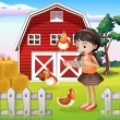 A girl with their farm animals — Stock Vector