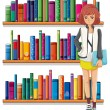 Lady holding book standing in front of bookshelves — Stock Vector #28310727