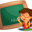 A girl writing on the board — Stock Vector