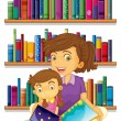 A mother with her daughter reading a book — Stock Vector