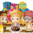 A girl celebrating her birthday with her friends — Stock Vector #28310917