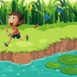 Stock Vector: Boy catching butterflies at riverside