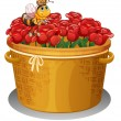 A bee at the basket full of red roses  — Stock Vector