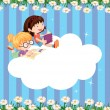 An empty cloud template with two girls reading — Stock Vector #28311137