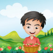 A boy holding a basket of strawberries — Stock Vector